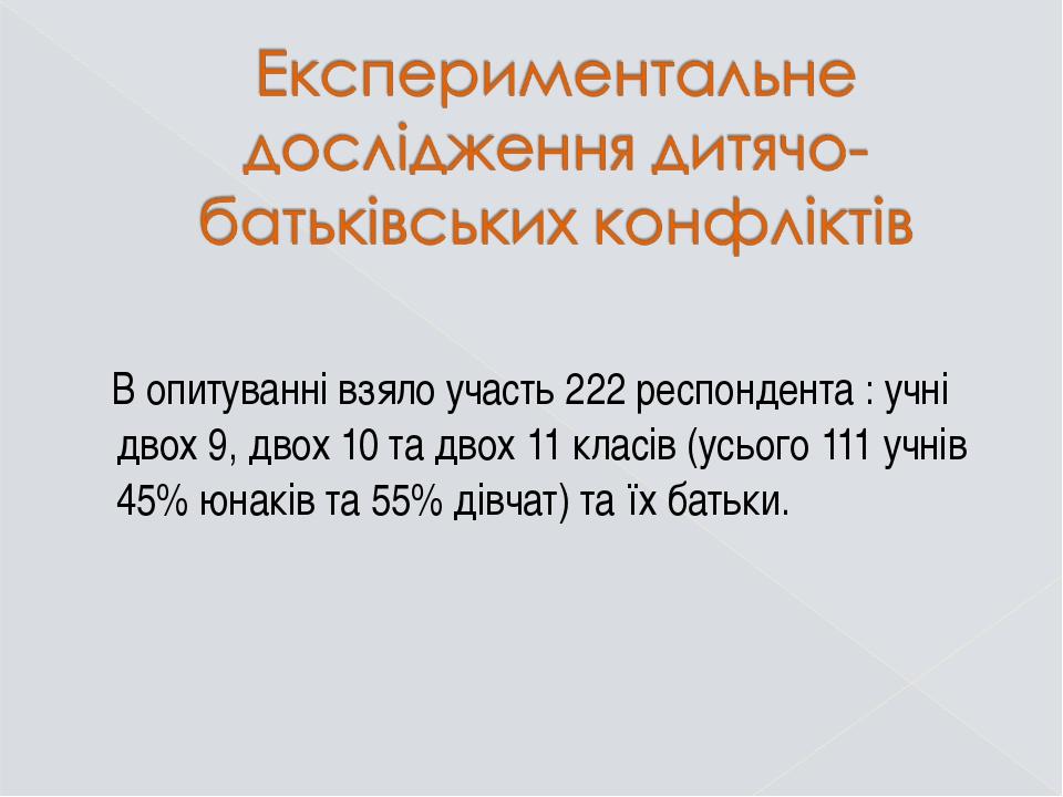 В опитуванні взяло участь 222 респондента : учні двох 9, двох 10 та двох 11...