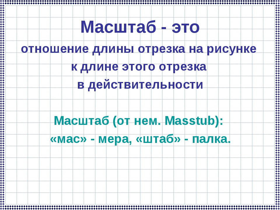 Масштаб - это отношение длины отрезка на рисунке к длине этого отрезка в дейс...