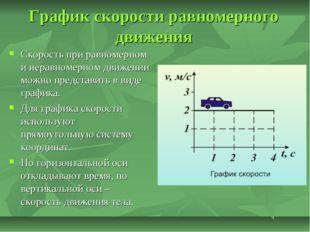 График скорости равномерного движения Скорость при равномерном и неравномерно