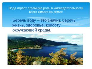 Беречь воду – это значит, беречь жизнь, здоровье, красоту окружающей среды. В