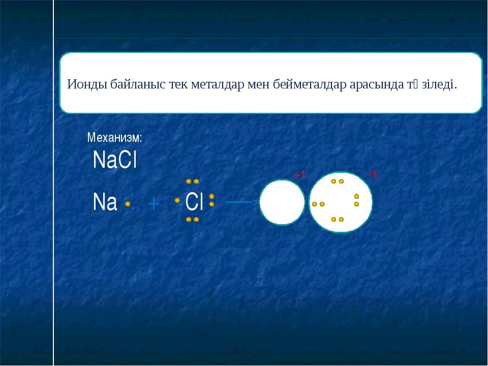 Ионды байланыс тек металдар мен бейметалдар арасында түзіледі. Механизм: Na +...