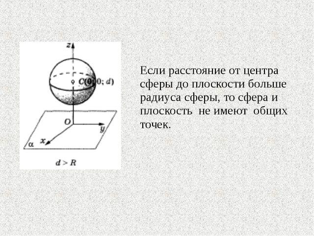 Если расстояние от центра сферы до плоскости больше радиуса сферы, то сфера...