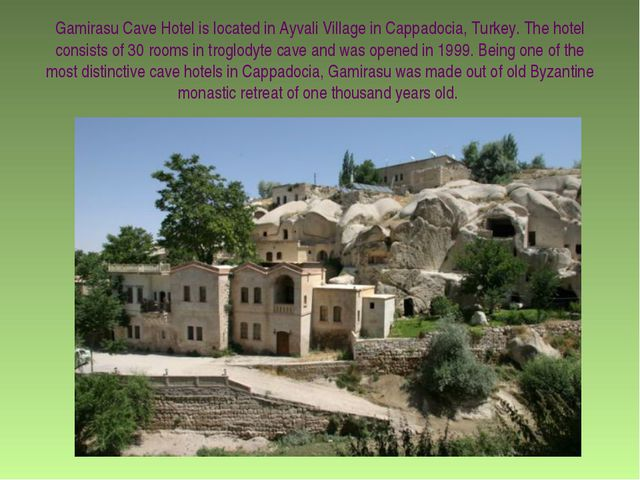 Gamirasu Cave Hotel is located in Ayvali Village in Cappadocia, Turkey. The h...