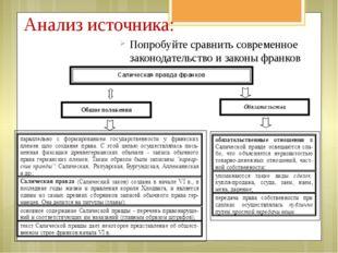 Анализ источника: Попробуйте сравнить современное законодательство и законы ф