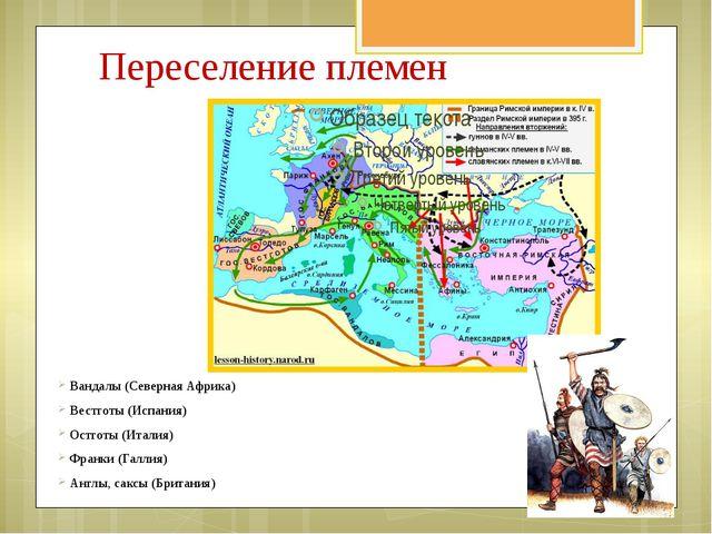 Переселение племен Вандалы (Северная Африка) Вестготы (Испания) Остготы (Итал...