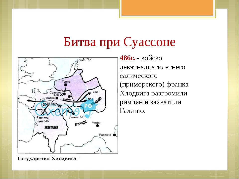 Битва при Суассоне 486г. - войско девятнадцатилетнего салического (приморског...