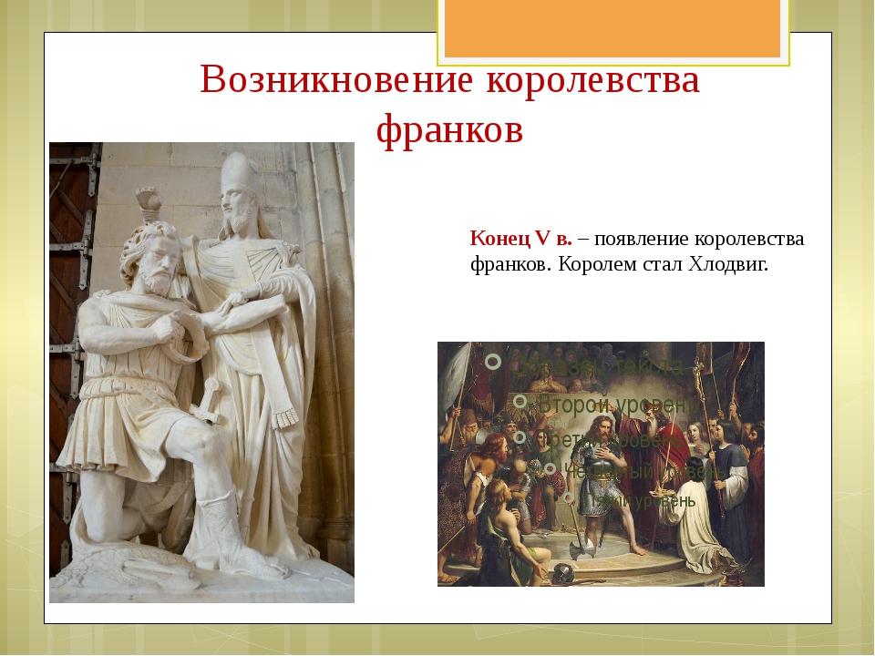 Возникновение королевства франков Конец V в. – появление королевства франков....