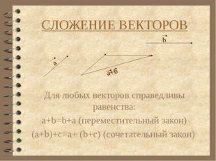 СЛОЖЕНИЕ ВЕКТОРОВ Для любых векторов справедливы равенства: a+b=b+a (перемест