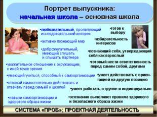 «Портрет выпускника:» Дошкольник Начальная школа Деятельный и активный.Прис