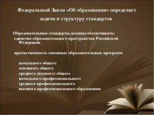 Федеральный Закон «Об образовании» определяет задачи и структуру стандартов О