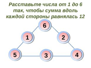 Расставьте числа от 1 до 6 так, чтобы сумма вдоль каждой стороны равнялась 12