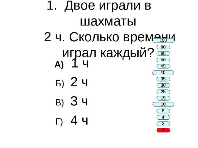 Двое играли в шахматы 2 ч. Сколько времени играл каждый? А) 1 ч Б) 2 ч В) 3 ч...