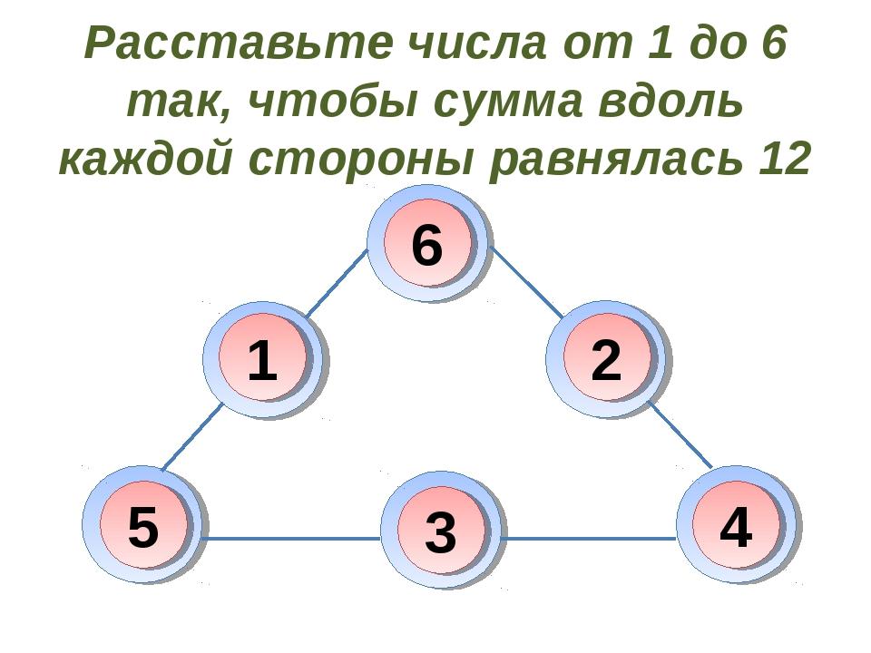 Расставьте числа от 1 до 6 так, чтобы сумма вдоль каждой стороны равнялась 12...