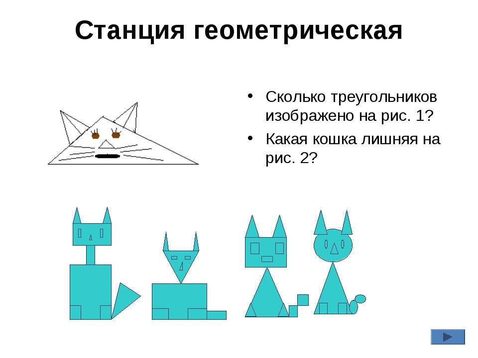 Станция геометрическая Сколько треугольников изображено на рис. 1? Какая кошк...