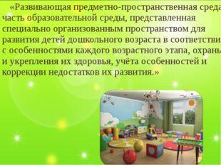 «Развивающая предметно-пространственная среда– часть образовательной среды,