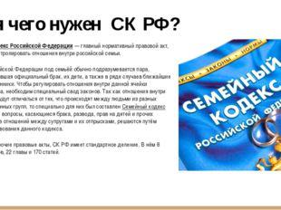Для чего нужен СК РФ? Семейный кодекс Российской Федерации — главный норматив