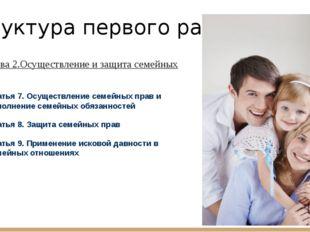 Структура первого раздела: 2. Глава 2.Осуществление и защита семейных прав Ст