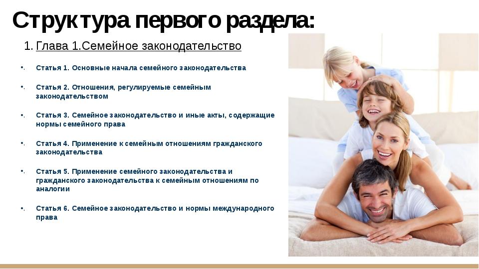 Структура первого раздела: Глава 1.Семейное законодательство Статья 1. Основн...