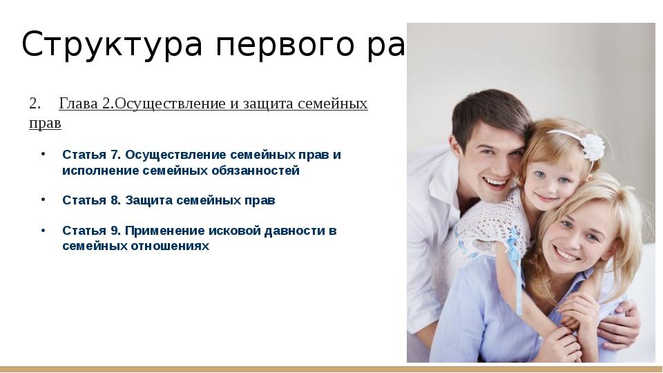 Структура первого раздела: 2. Глава 2.Осуществление и защита семейных прав Ст...