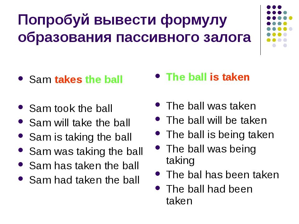Попробуй вывести формулу образования пассивного залога Sam takes the ball Sam...