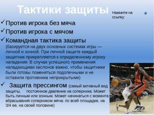 Против игрока без мяча Против игрока с мячом Командная тактика защиты (базиру