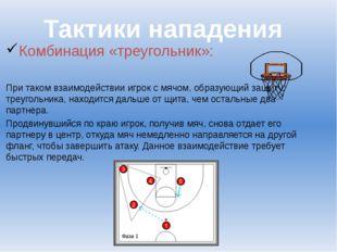 Комбинация «треугольник»: При таком взаимодействии игрок с мячом, образующий