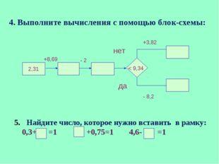 Найдите число, которое нужно вставить в рамку: 0,3+ =1 +0,75=1 4,6- =1 4. Вы