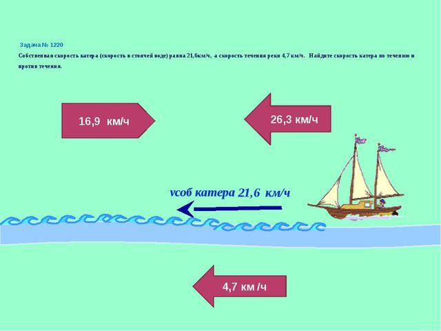 Задача № 1220 Собственная скорость катера (скорость в стоячей воде) равна 21...
