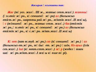 Жасырын қосымшаны тап: Жас (тәуел. жалғ. ІІІ ж., жатыс септ.жалғ) жаттық (өз