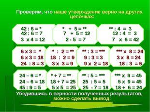Проверим, что наше утверждение верно на других цепочках: 42 : 6 = * * + 5 = *