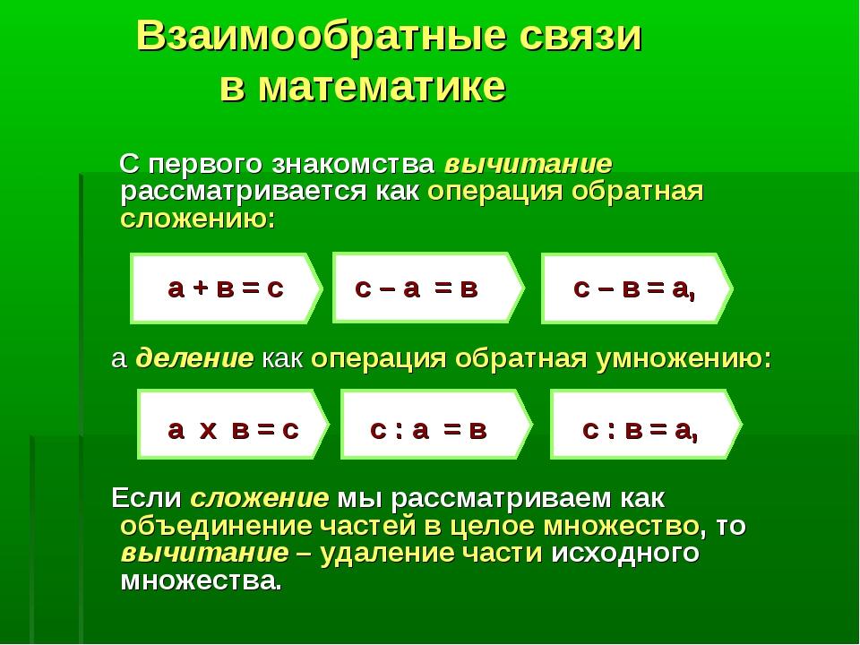 Взаимообратные связи в математике С первого знакомства вычитание рассматрива...
