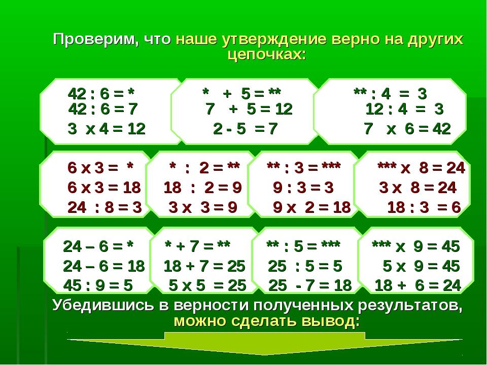 Проверим, что наше утверждение верно на других цепочках: 42 : 6 = * * + 5 = *...