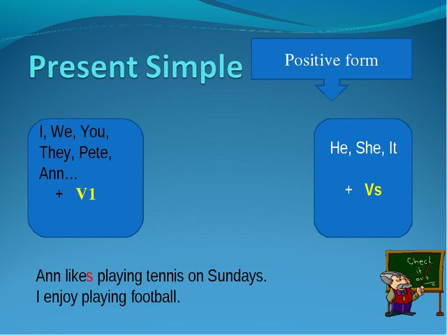 Positive form He, She, It + Vs I, We, You, They, Pete, Ann… + V1 Ann likes pl...