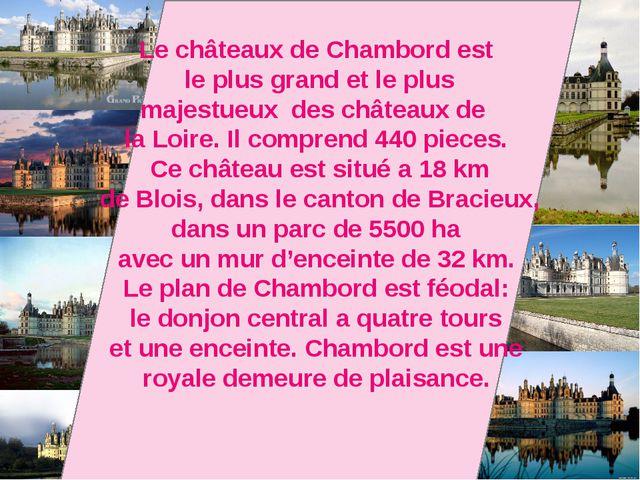 Le châteaux de Chambord est le plus grand et le plus majestueux des châteaux...