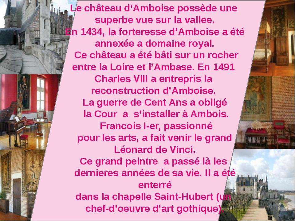 Le château d'Amboise possède une superbe vue sur la vallee. En 1434, la fort...