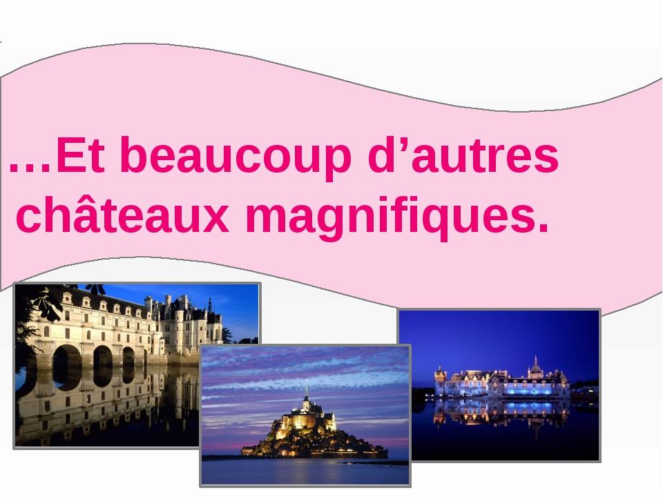 …Et beaucoup d'autres châteaux magnifiques.