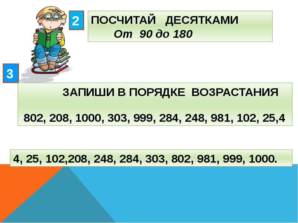 ПОСЧИТАЙ ДЕСЯТКАМИ От 90 до 180 2 3 ЗАПИШИ В ПОРЯДКЕ ВОЗРАСТАНИЯ 802, 208, 10...