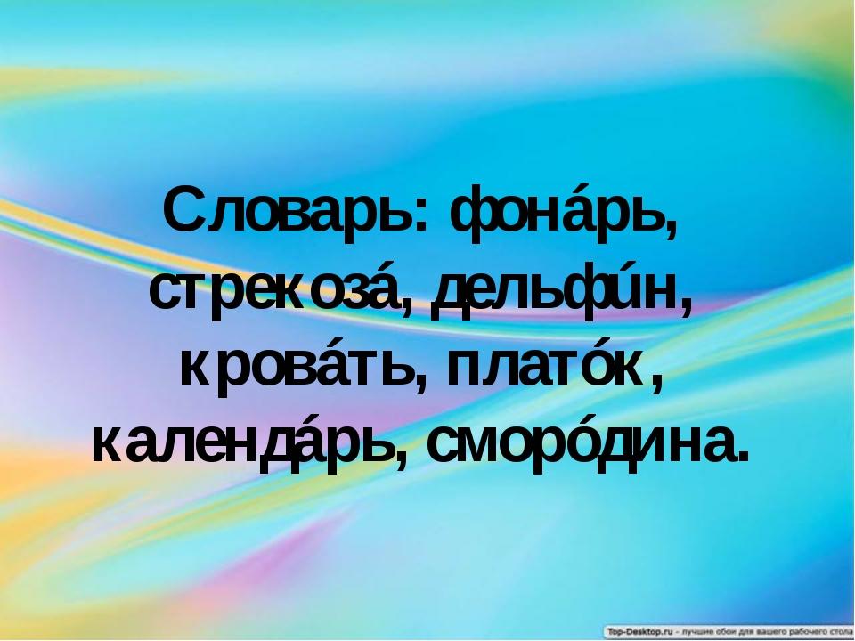 Словарь: фонáрь, стрекозá, дельфúн, кровáть, платóк, календáрь, сморóдина.