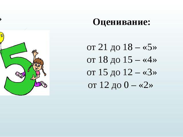 Оценивание: от 21 до 18 – «5» от 18 до 15 – «4» от 15 до 12 – «3» от 12 до 0...