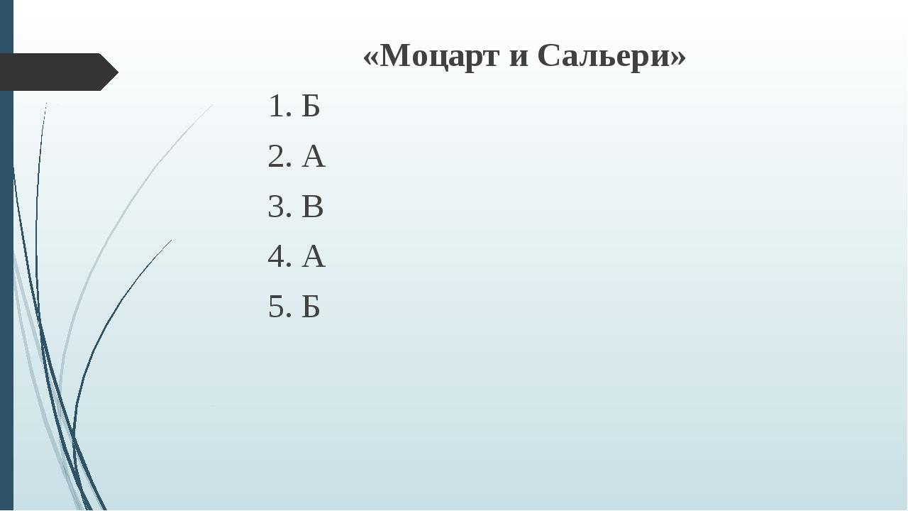 «Моцарт и Сальери» 1. Б 2. А 3. В 4. А 5. Б