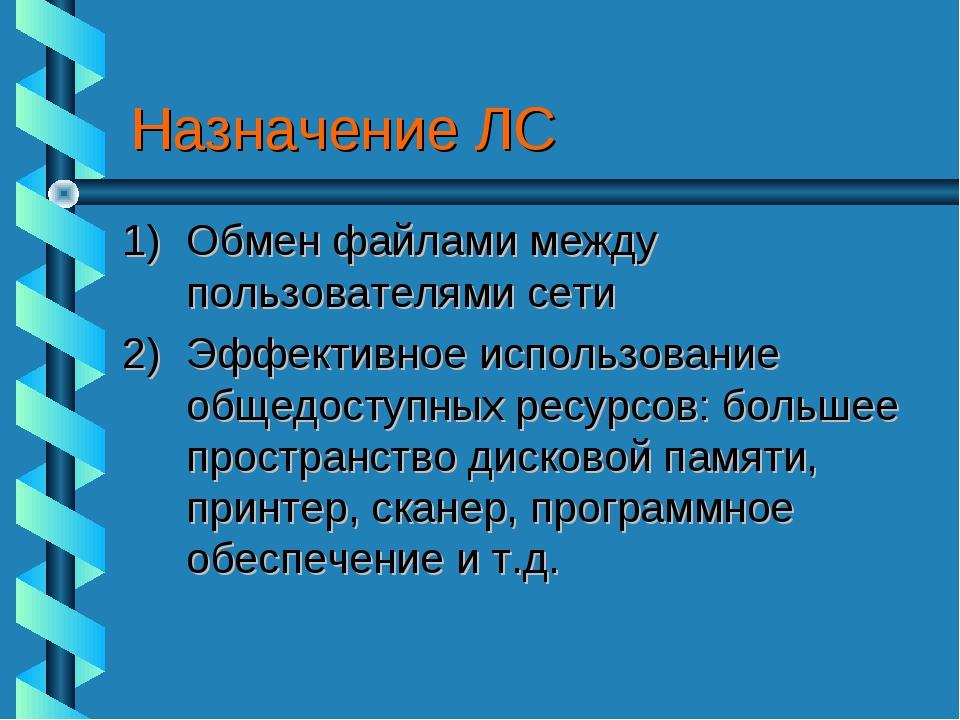 Назначение ЛС Обмен файлами между пользователями сети Эффективное использован...