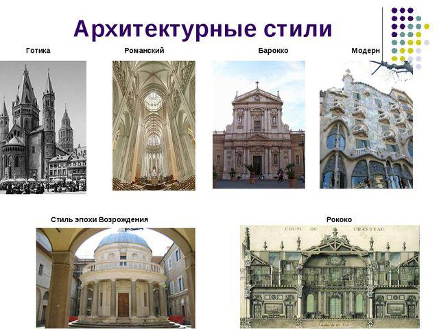 Архитектурные стили Готика Романский Барокко Модерн Стиль эпохи Возрождения Р...