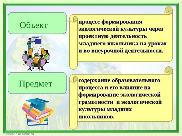 Объект Предмет процесс формирования экологической культуры через проектную д...