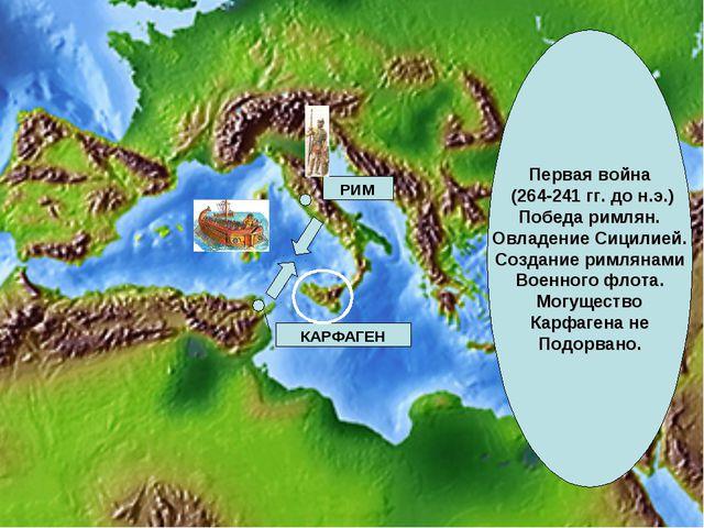 Первая война (264-241 гг. до н.э.) Победа римлян. Овладение Сицилией. Создани...