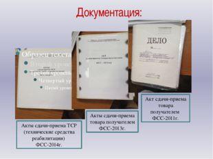 Документация: Акты сдачи-приема ТСР (технические средства реабилитации) ФСС-