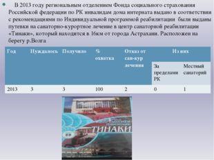 В 2013 году региональным отделением Фонда социального страхования Российской