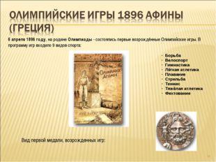 * 6 апреля 1896 году, на родине Олимпиады - состоялись первые возрождённые Ол