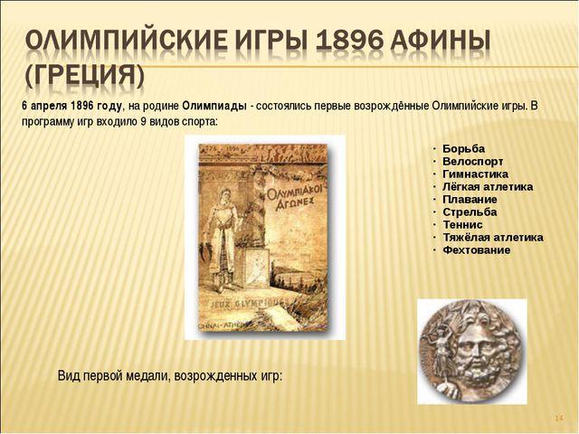 * 6 апреля 1896 году, на родине Олимпиады - состоялись первые возрождённые Ол...