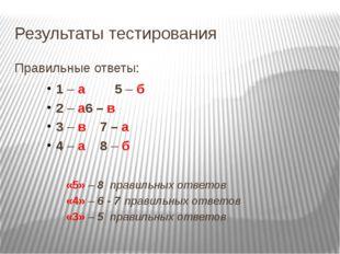 Результаты тестирования Правильные ответы: 1 – а  5 – б 2 – а6 – в 3 –