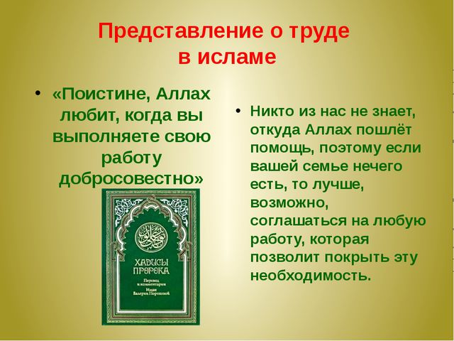 Представление о труде в исламе «Поистине, Аллах любит, когда вы выполняете св...